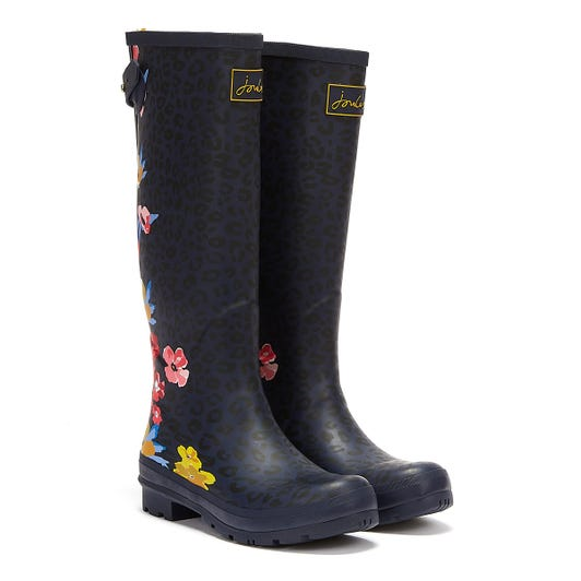 Joules Field Tall Floral Leopard Womens Navy Wellies
