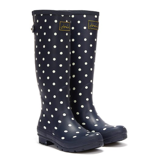 Joules Field Tall French Spot Womens Navy Wellies