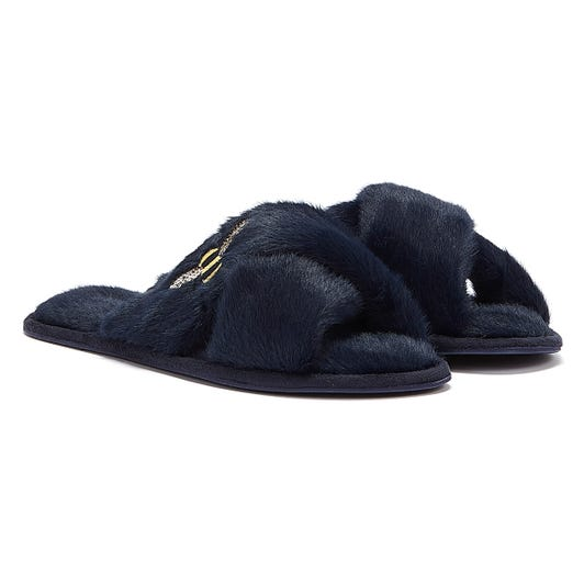 Joules Honey Faux Fur Bee Womens Navy Slippers