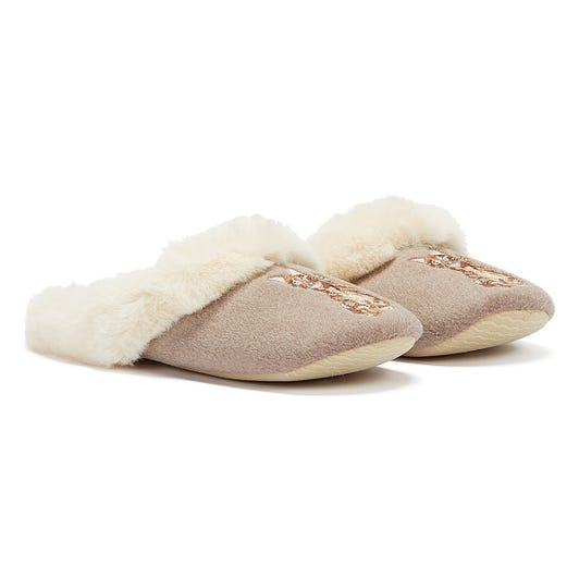 Joules Slippet Luxe Cat Womens Beige Slippers