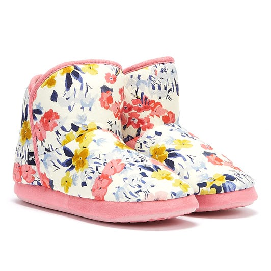 Joules Cabin Faux Fur Lined Floral Womens White / Pink / Multi Slippers