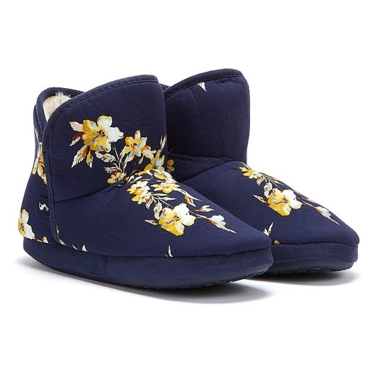 Joules Cabin Faux Fur Lined Florals Womens Navy Slippers