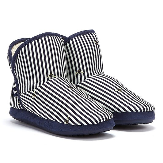Joules Cabin Faux Fur Lined Bee Stripes Womens Navy / White Slippers