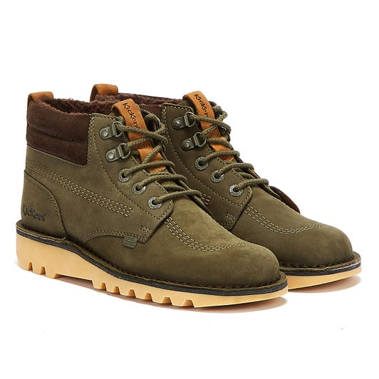 Kickers Kick Hi Winter Oily Mens Olive Green Boots