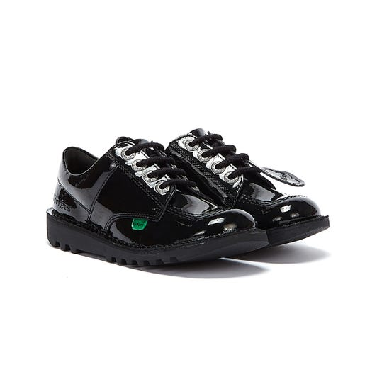 Kickers Kick Lo Patent Junior Black Shoes