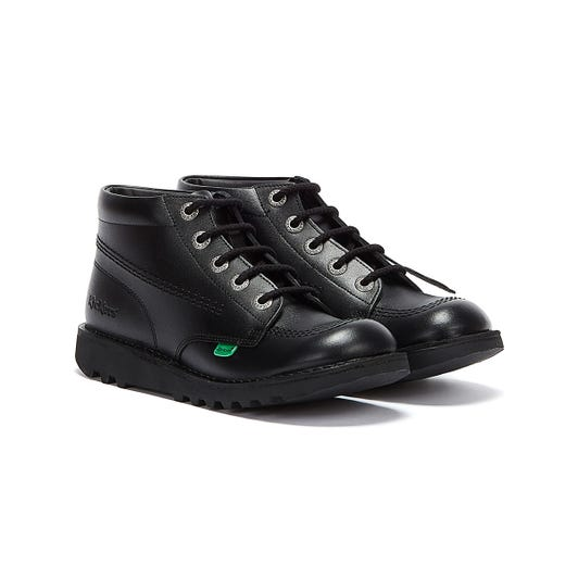 Kickers Kick Hi Youth Black Leather Ankle School Boots