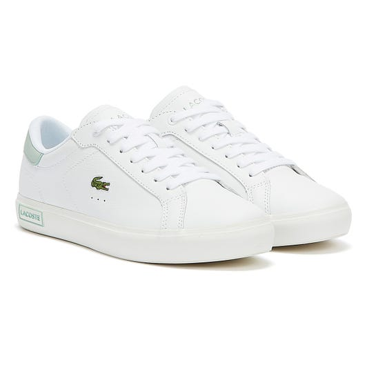 Lacoste Powercourt Womens White / Light Green Trainers