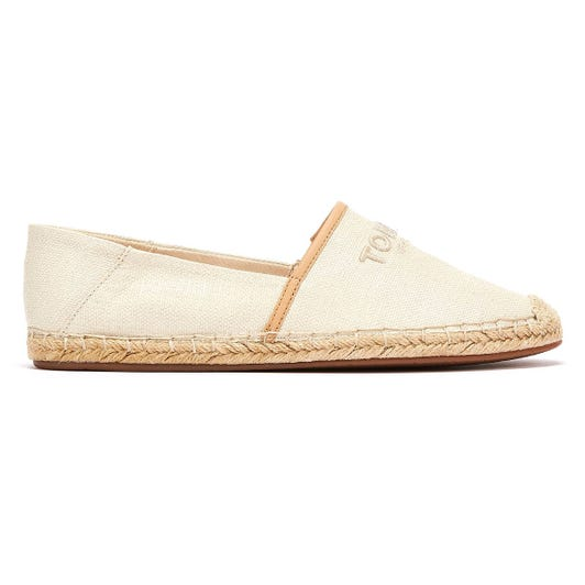 Tommy Hilfiger Logo Embroidery Womens Ivory Espadrille