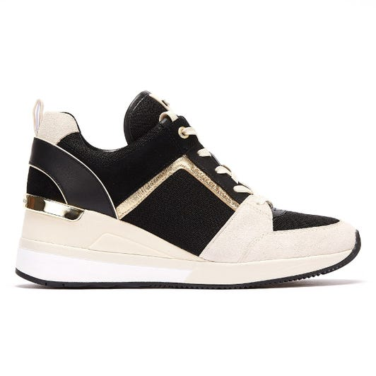 Michael Kors Georgie Canvas and Suede Womens Black / Cream Trainers