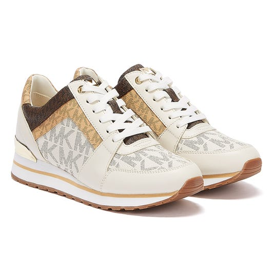 Michael Kors Billie Leather Womens White / Tan Trainers