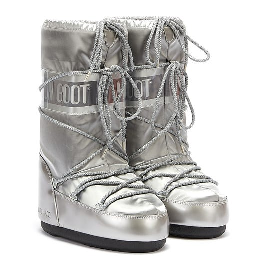 Moon Boots Classic Icon Glance Womens Silver Boots