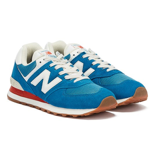 New Balance 574 Mens Blue / Red Trainers