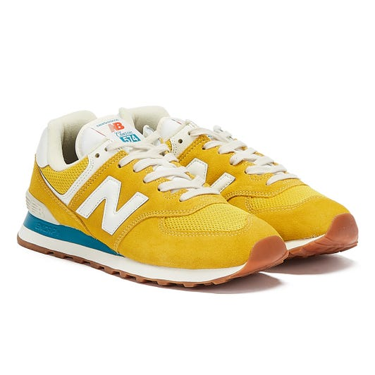 New Balance 574 Mens Yellow / Blue Trainers