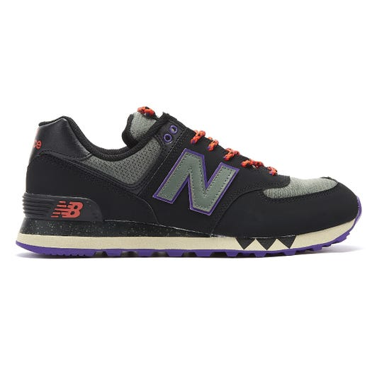 New Balance 574 Mens Black / Green Trainers