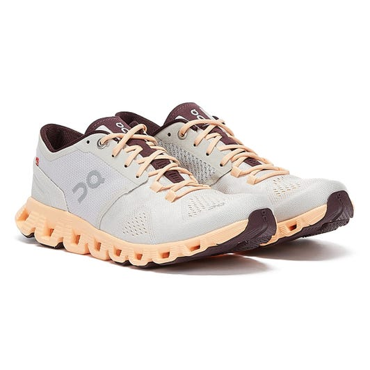 On Running Cloud X Womens Silver / Almond Trainers