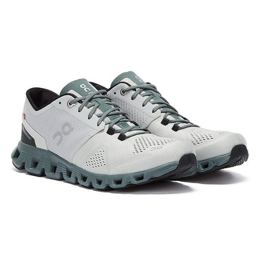 On Running Cloud X Mens Glacier / Olive Trainers
