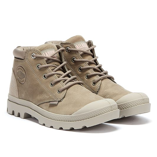 Palladium Pampa Lo Cuff Leather Womens Grey Boots