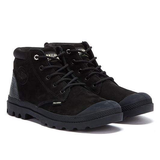 Palladium Pampa Lo Cuff Leather Womens Black Boots