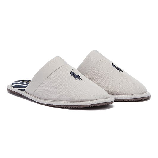 Ralph Lauren Klarence Cotton Mens Grey / Navy Slippers
