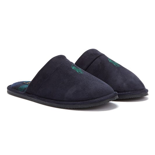 Ralph Lauren Klarence Mens Navy / Green Slippers
