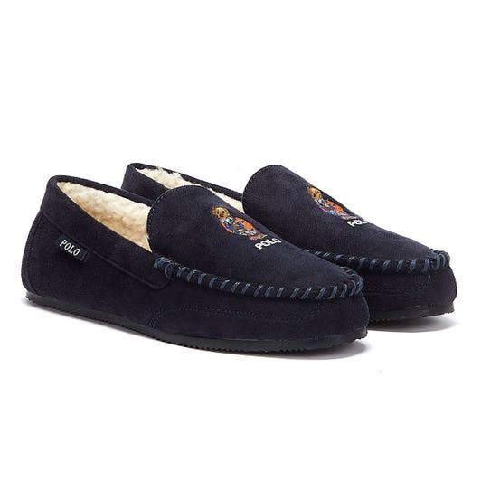 Ralph Lauren Dezi IV Bear Mens Navy Slippers