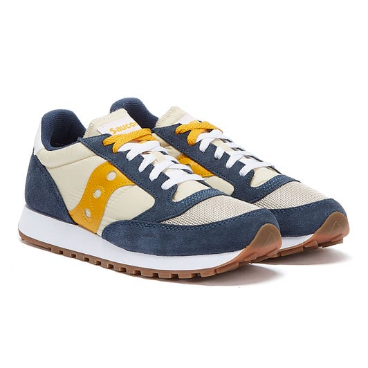 Saucony Jazz Vintage Mens White / Blue / Yellow Trainers