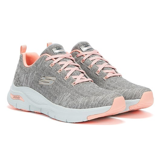 Skechers Arch Fit Comfy Wave Womens Grey Pink Trainers