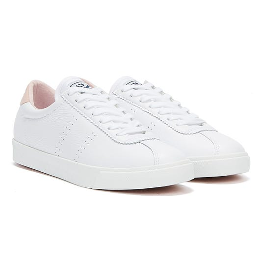 Superga 2843 Club S Comfort Leather Womens White / Pink Trainers