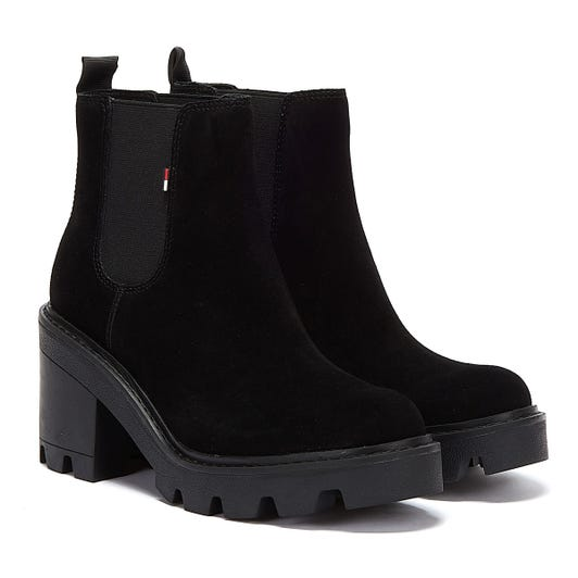 Tommy Jeans Essential Suede Mid Heel Womens Black Boots