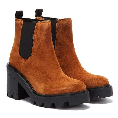 Tommy Jeans Essential Suede Mid Heel Womens Brown Boots