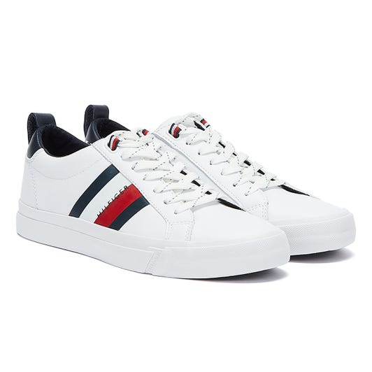 Tommy Hilfiger Flag Detail Leather Mens White Trainers