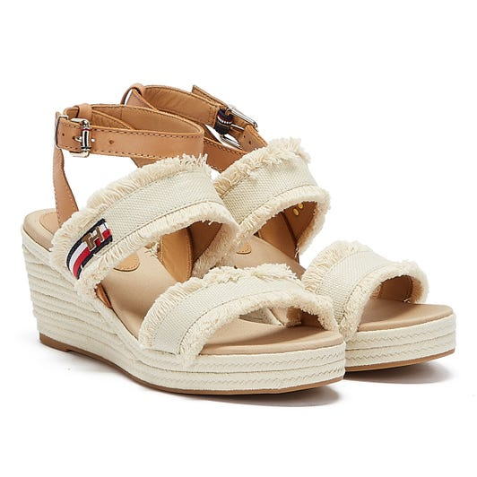 Tommy Hilfiger Tommy Fringes Womens Ivory Wedge Sandals