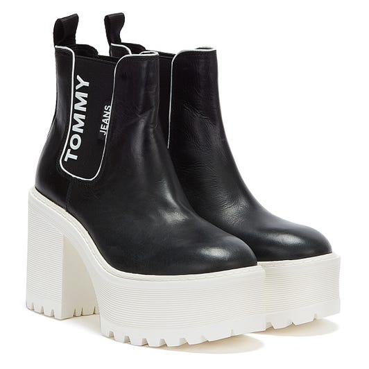 Tommy Jeans Chelsea Cleated Heeled Womens Black / White Boots