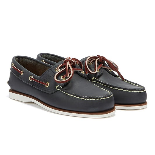 Timberland Classic Mens Navy Leather Boat Shoes