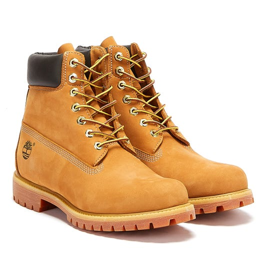 Timberland Mens Wheat Premium 6 Inch Nubuck Leather Boots