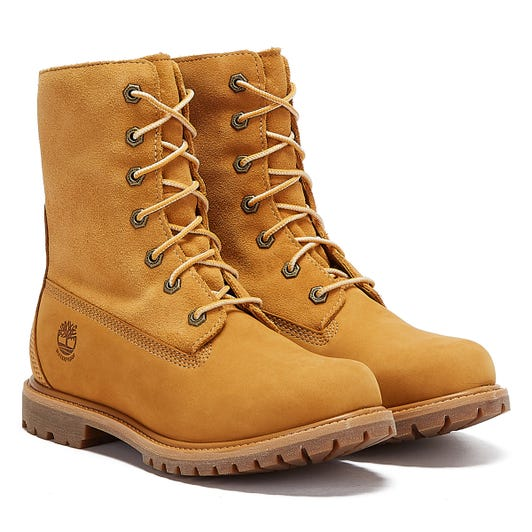 Timberland Teddy Fleece Fold Down Womens Wheat Brown Boots