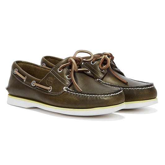 Timberland Classic Boat Full Grain Mens Olive Green Shoes