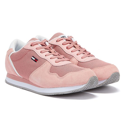 Tommy Jeans Suede Mesh Panel Womens Pink Trainers