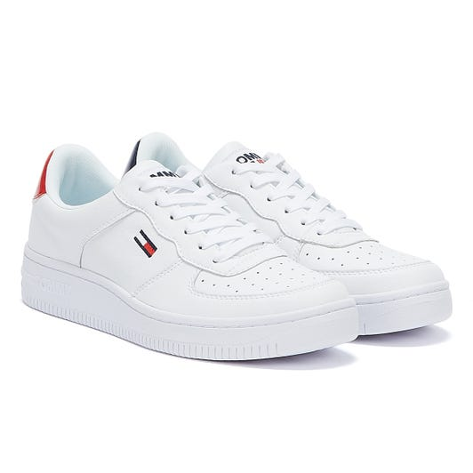 Tommy Jeans Branded Heel Detail Womens White Trainers