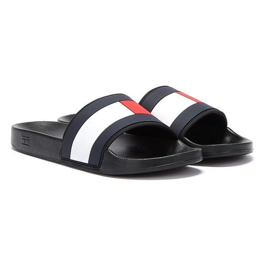 Tommy Hilfiger Essential Flag Mens Black Slides