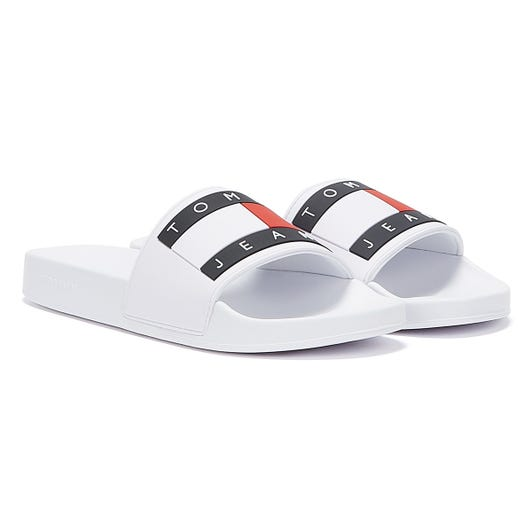 Tommy Jeans Flag Mens White Slides