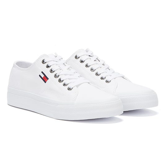 Tommy Hilfiger Vulcanised Cotton Low Top Mens White Trainers