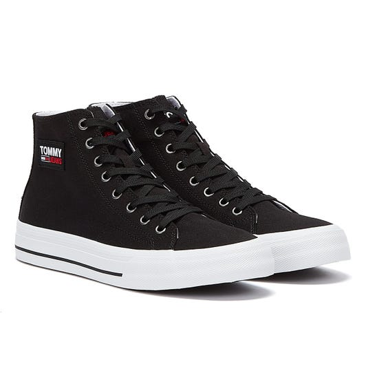 Tommy Hilfiger Vulcanised Cotton High Top Mens Black Trainers
