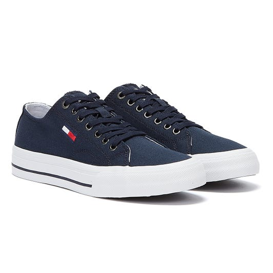 Tommy Hilfiger Vulcanised Cotton Low Top Mens Navy Trainers