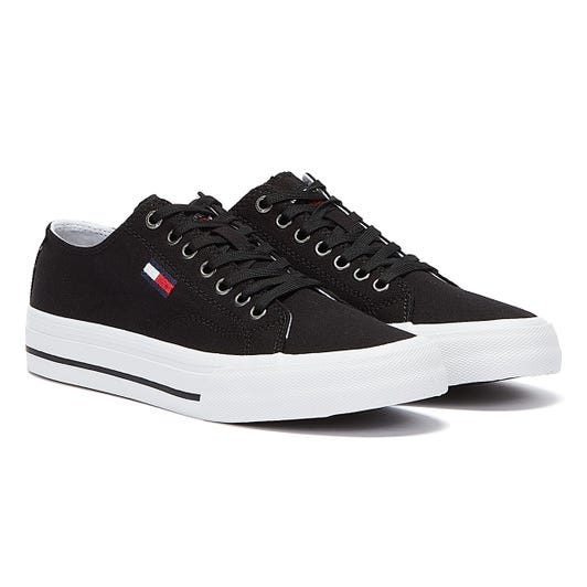 Tommy Hilfiger Vulcanised Cotton Low Top Mens Black Trainers