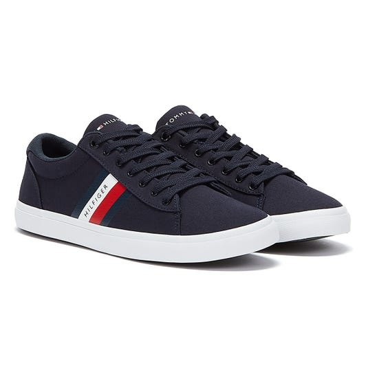 Tommy Hilfiger Essential Cotton Stripe Mens Navy Trainers