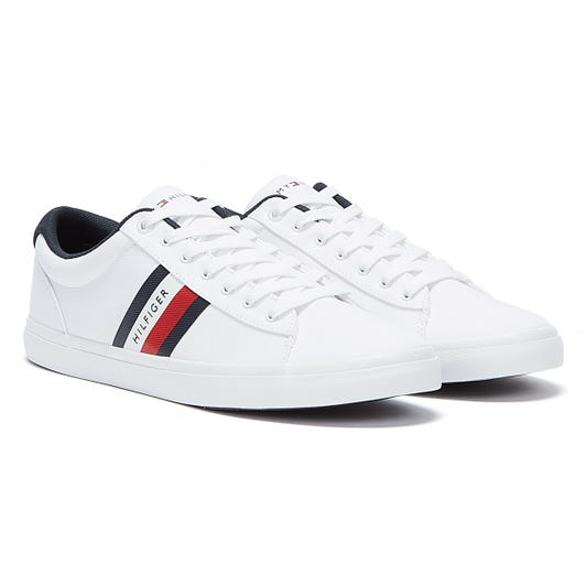 Tommy Hilfiger Essential Cotton Stripe Mens White Trainers