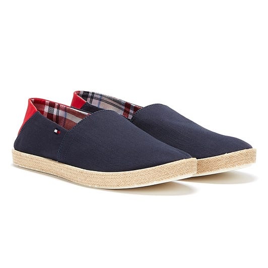 Tommy Hilfiger Cotton Jute Mens Navy / Red Espadrilles