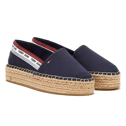 Tommy Jeans Repeat Logo Flatform Womens Navy Espadrilles
