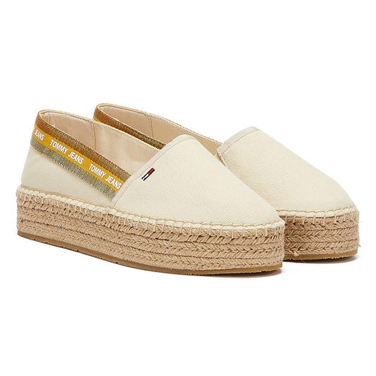 Tommy Jeans Repeat Logo Flatform Womens Cream Espadrilles